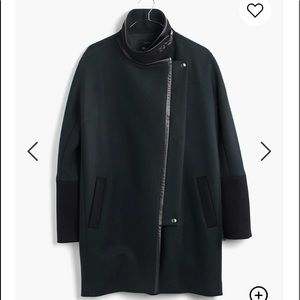 Madewell Green Black Leather City Grid Cocoon Coat